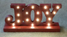 "HALLMARK Micro-Lighted Red Rustic Wood ""JOY"" Sign Display 2015 NEW 8""x15"""