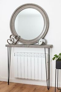 106.50cm Height Grey Wood Console Table with Hairpin Legs, Straight Edge