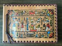 "Vintage Leather Egyptian Album SCRAPBOOK HIEROGLYPHS 9.5"" x 7"" Unused FREE SHIP"