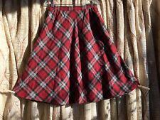 Vintage Plaid Sports Galore Red Wool Circle Skirt Medium