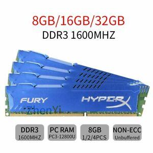 32GB 16GB 8GB PC3-12800U DDR3 1600MHz 240Pin DIMM Desktop Memoria HyperX FURY IT