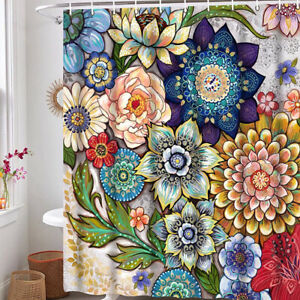 Boho Floral Shower Curtain for Bathroom Bright Fabric Blossom Shower Curtain