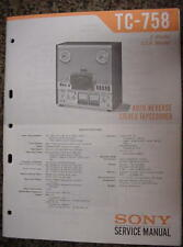 SONY TC-758 TAPE DECK SERVICE MANUAL 74 Pages