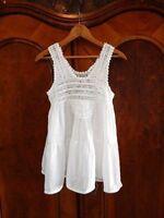 RAGA~NEW~White Crochet Yoke Crinkle Layered BabyDoll Hippie Bohemian Summer Top