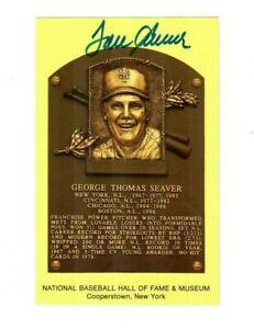 Tom Seaver Autographed Hall Of Fame Plaque Yellow Postcard