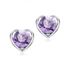 Women Crystal Rhinestone Love Heart Ear Stud Earrings Wedding Party Jewelry Gift