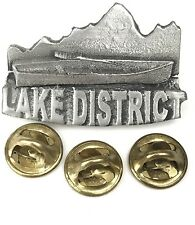 Lake District Canoe Handcrafted in English Pewter Lapel Pin Badge