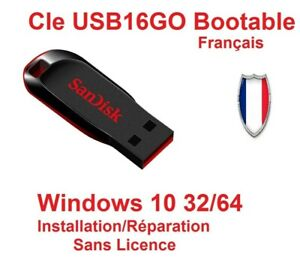 Clé USB bootable WIN10 32/64 Installation/Réparation   Sans License