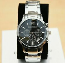 NEW GENUINE EMPORIO ARMANI MENS AR2434 WATCH BLACK DIAL STAINLESS STEEL £319 RRP