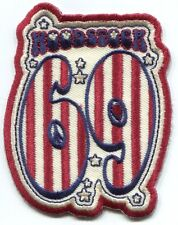 WOODSTOCK: 69 red white & blue EMBROIDERED IRON-ON PATCH summer of , *Free Ship*