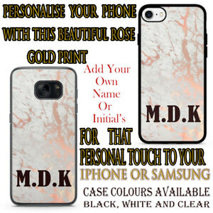 Personalised Rose Gold Marble Printed Case For Samsung and Apple iPhone Initials
