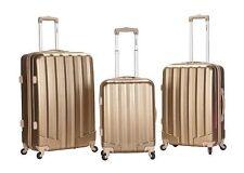 Rockland Luggage 3 PC Spinner Hardcase Expandable Santa Fe Bronze Gold Suitcases