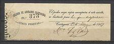 3172- GRAN SELLO FISCAL COLEGIO ABOGADOS CARTAGENA  MURCIA 5 PESETAS AÑO 1907.