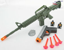 2x Toy Guns Green M-16 Machine Gun Toy Rifle & Grey 9MM Dart Pistol Set
