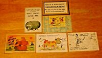 Vintage Lot (6) 1940's-50's Comical / Humorous Unused / Unposted Post Cards