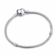 HEART SHAPED SILVER CLASP SNAKE CHAIN SILVER PLATED BRACELET FOR 925 CHARMS BEAD