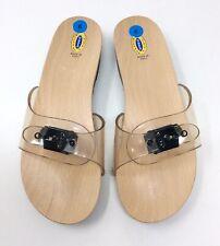 Women's Dr. Scholl's The Original Wood Sandals Clear Strap Flip Flop Shoes Sz. 9