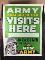 VINTAGE 1960's VIETNAM-ERA MINT ORIGINAL ARMY MOBILE RECRUITMENT POSTER MILITARY