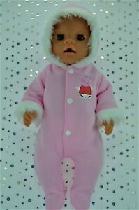 """Play n Wear Dolls Clothes To Fit 17"""" Baby Born PINK FLEECE SNOWSUIT"""
