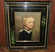 Antique Ebonized Eastlake Frame Hand Painted Flowers Carvings- Gilded Liner