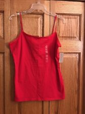 cd045f9025d Ann Taylor Top Tank Cami Red Satin Adjustable Straps Womans Size L