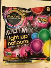 Illooms LED Multi Mix Light Up Balloons 15 Pack Mixed Colors New