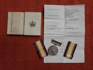 BRITISH 1990 - 91 GULF WAR MEDAL , NAVY. HMS EXETER