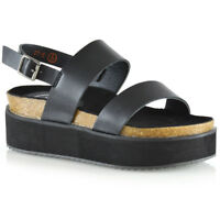 Womens Wedge Heel Strappy Sandals Ladies Flat Chunky Platform Shoes Size 3-8