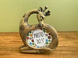 """Mini Giraffe Resin Photo Frame, Fits 2x2.5"""" Picture, Small Wildlife Themed Gift"""