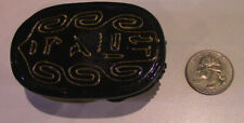 "Shiny New Black and Gold Scarab with hand carved Egyptian hieroglyphs 2"" x 3"""