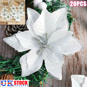 20PCS Artificial Fake Flowers Christmas Tree Decor Poinsettia Glitter Xmas White