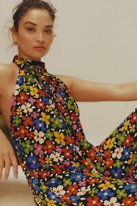 New Anthropologie Tessanne Floral Wide-Leg Jumpsuit Black size M $178 NWT