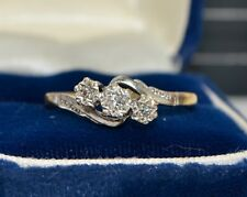 Antique 18CT GOLD & PLATINUM 3 Stone Diamond TRILOGY Engagement RING - Sz R