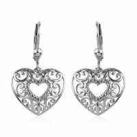 925 Sterling Silver Platinum Plated Fashion Drop Dangle Valentine Heart Earrings