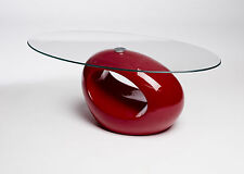 DESIGNER Oval Coffee Table Red Clear Glass