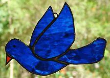 INDIGO BLUE DOVE stained glass SUNCATCHER WINDOW DECORATION BIRD HAND CRAFTED