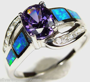 Amethyst and Blue Fire Opal Inlay Genuine 925 Sterling Silver Ring sz 6,7,8,9,10