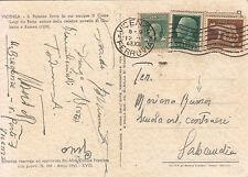 Cartolina affrancata con 5 cent+25 cent sopra a tre 10 cent marche da bollo