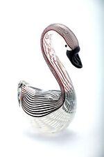 """New 7"""" Hand Blown Art Glass Swan Sculpture Figurine Statue White Black"""