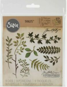 Sizzix Thinlits Tim Holtz Garden Greens 9 Dies 661206 Mixed Media Journal