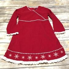 Hanna Andersson Girls 110 US 5 Red Corduroy Snowflake Holiday Dress Long Sleeve