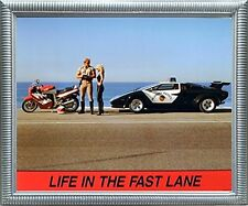 """Lamborghini Car """"Life in the Fast Lane"""" Funny Motorcycle Biker Framed Picture"""