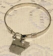 NWT Women Western Arkansas With Pearl Charm Bangle Hook Bracelet Silver Color