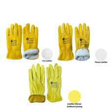 Driver Gloves Fleece Lined Leather Lorry Drivers Work Gloves DIY heavy duty Work