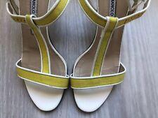 Manolo Blahnik Dador Linen T-Strap Yellow & White Sandal Heel Shoe EU 35 US 5