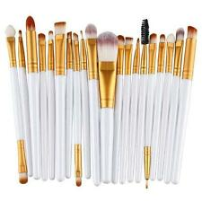 20pc Professional White Face Foundation Eye Brow Lip Blending Makeup Brushes Set
