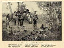 Rudolf Trache (reitertod) militare grafica con poesia di 1899