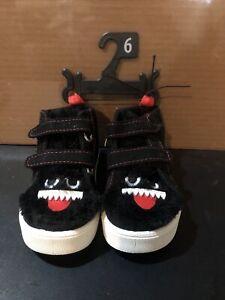 Wonder Nation Infants Toddler Boys Casual Hi-Top Monster Shoes Black & Red SZ 6