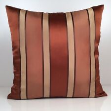 Cinnamon Copper and Tan Decorative Throw Pillow Cover, Accent Pillowcase-Stripes