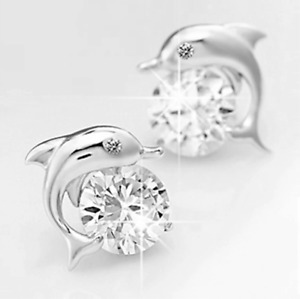 1Ct Signity Diamond Dolphin Stud Earrings Crafted In Solid 925 Sterling Silver